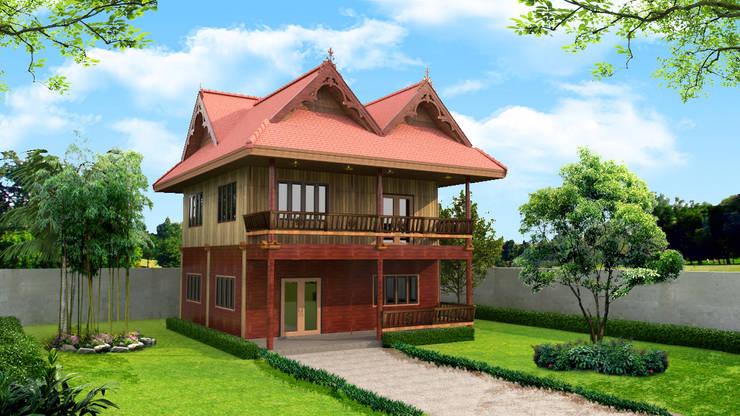 โครงการก่อสร้าง บ้านทรงเรือนไทย:  บ้านไม้ by บริษัท พี นัมเบอร์วัน ดีไซน์ แอนด์ คอนสตรัคชั่น จำกัด