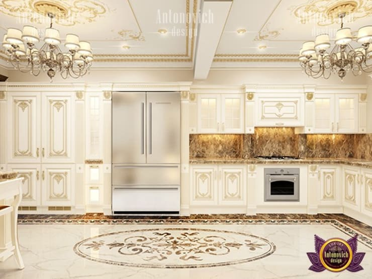 Delicate Interior Design Features for your Kitchen:   by Luxury Antonovich Design