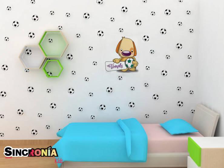 Vinilo Decorativo Futbolista : Habitaciones infantiles de estilo  por Sincronía Arquitectura y Diseño