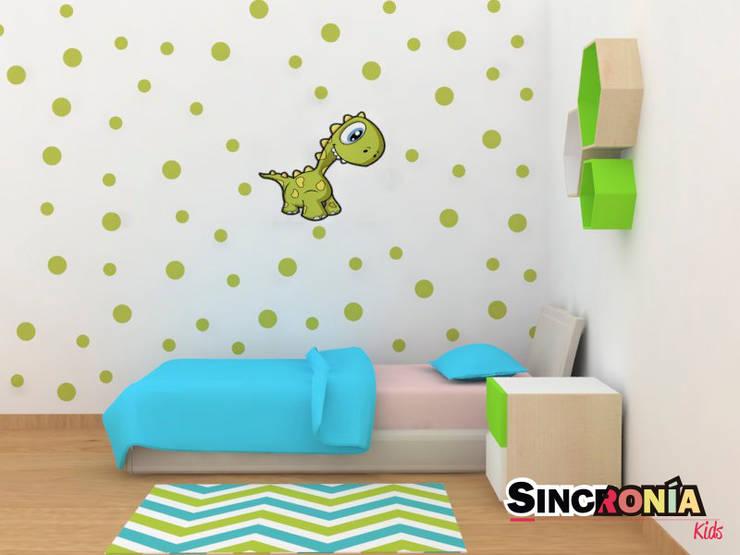 Vinilo Decorativo Dino : Habitaciones infantiles de estilo  por Sincronía Arquitectura y Diseño
