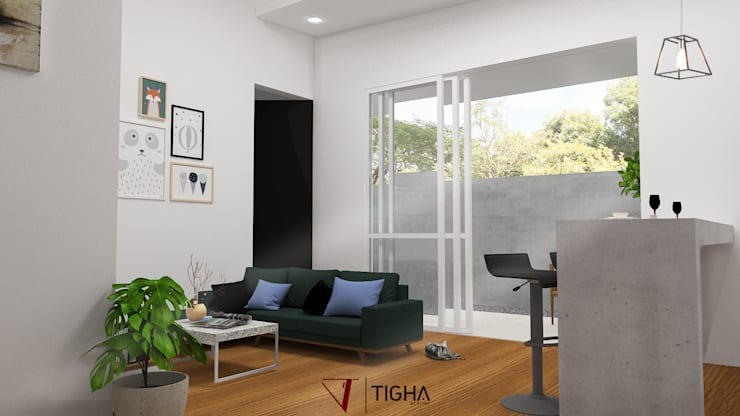 Interior Living & Dining Room:   by Tigha Atelier