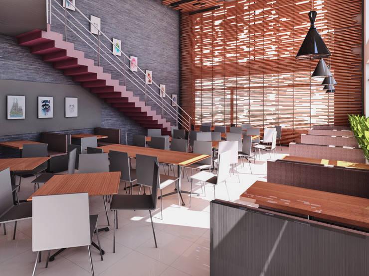 CAFETERIA UPT - TACNA: Tiendas y espacios comerciales de estilo  por TECTONICA STUDIO SAC
