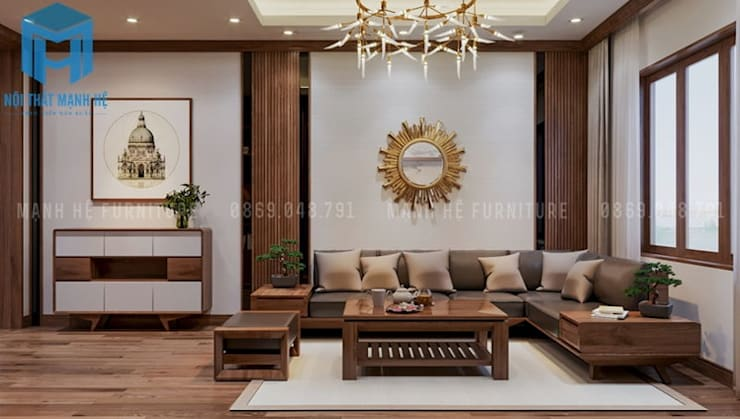 Bộ ghế sofa hình chữ L được làm bằng gỗ tự nhiên cao cấp:  Phòng khách by Công ty TNHH Nội Thất Mạnh Hệ
