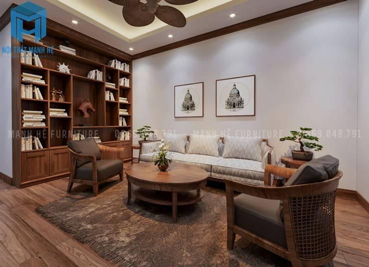 Không gian phòng đọc sách khá thoải mái:  Phòng khách by Công ty TNHH Nội Thất Mạnh Hệ