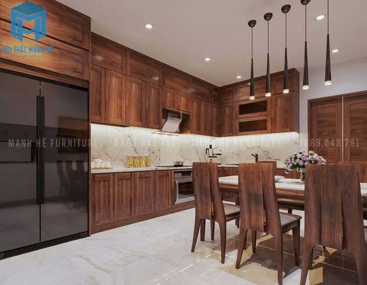 Không gian phòng bếp khá nhỏ gọn:  Phòng ăn by Công ty TNHH Nội Thất Mạnh Hệ