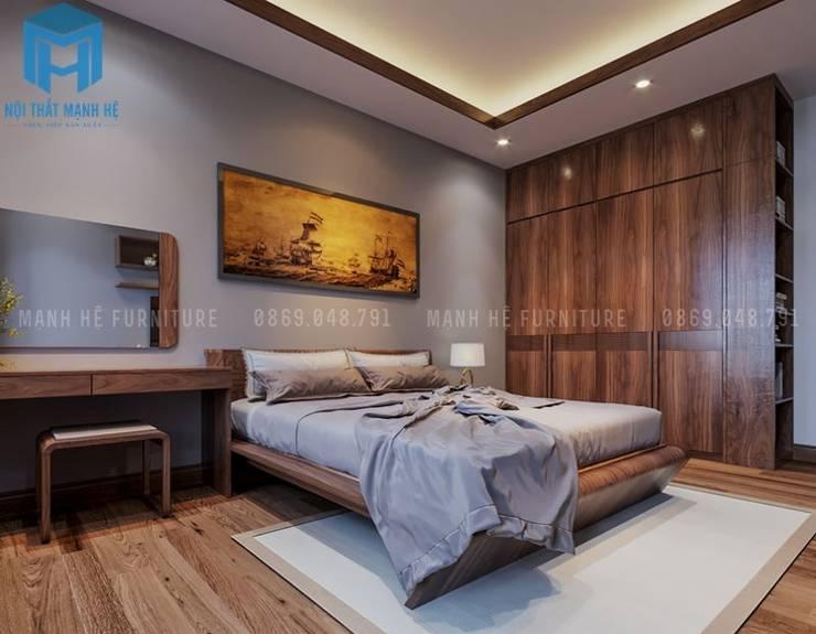 Không gian phòng ngủ khá đơn giản và rộng rãi:  Phòng ngủ by Công ty TNHH Nội Thất Mạnh Hệ