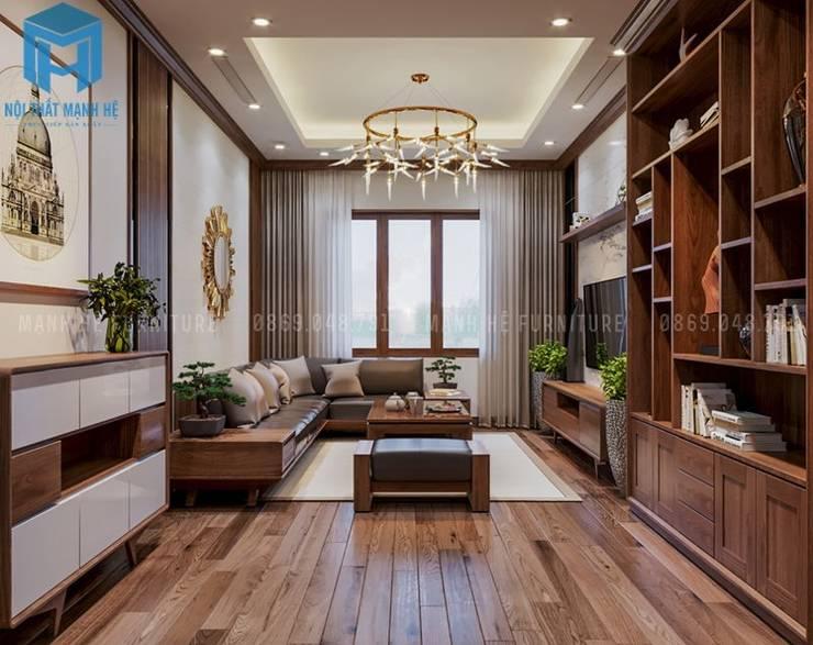 Nội thất phòng khách nhìn từ cửa vào trong khá sang trọng và đẳng cấp:  Phòng khách by Công ty TNHH Nội Thất Mạnh Hệ