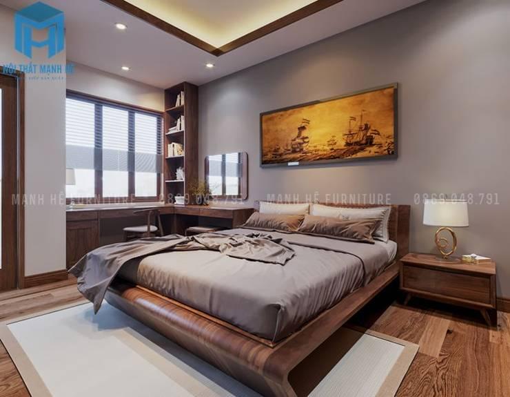 Phòng ngủ đơn giản với chiếc giường gỗ tự nhiên cùng bộ chăn ga gối nệm màu xám ghi:  Phòng ngủ by Công ty TNHH Nội Thất Mạnh Hệ