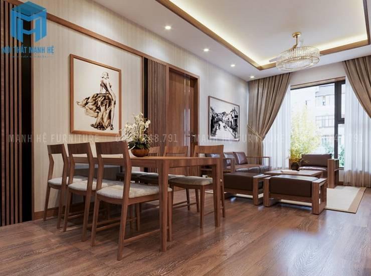 Bộ bàn ghế phòng ăn được đặt nối liền với bộ ghế sofa phòng khách:  Phòng khách by Công ty TNHH Nội Thất Mạnh Hệ