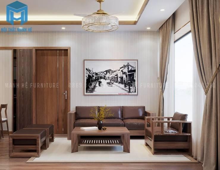 Bộ ghế sofa nệm khung gỗ phòng khách:  Phòng khách by Công ty TNHH Nội Thất Mạnh Hệ