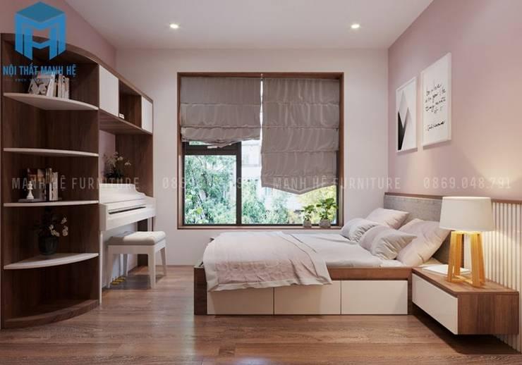 phòng ngủ nhỏ cho con gái:  Phòng ngủ nhỏ by Công ty TNHH Nội Thất Mạnh Hệ