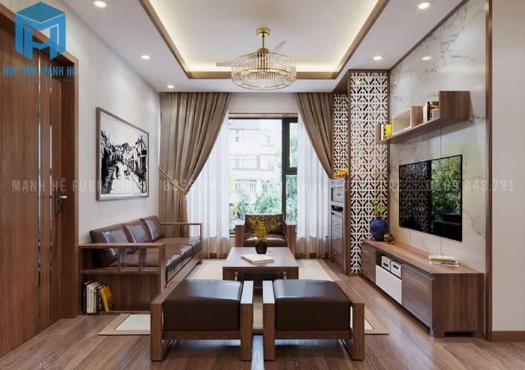 Tổng thể không gian phòng khách khá thoáng đãng:  Phòng khách by Công ty TNHH Nội Thất Mạnh Hệ