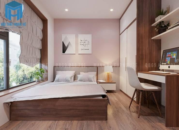 Nội thất phòng ngủ nhỏ dành cho con gái khá đơn giản:  Phòng ngủ nhỏ by Công ty TNHH Nội Thất Mạnh Hệ