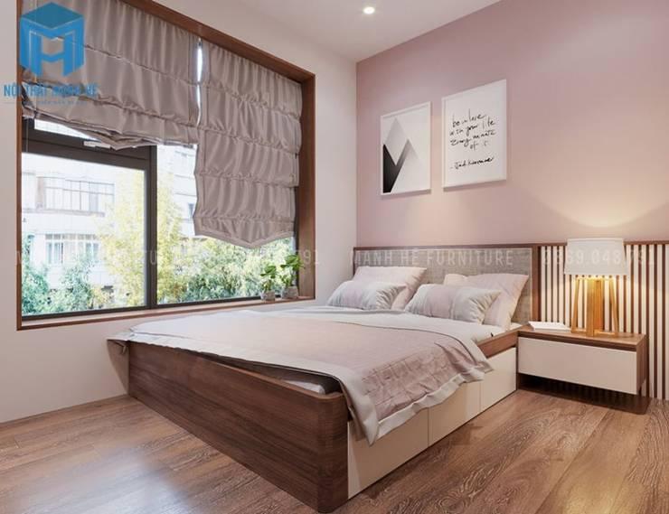 Giường ngủ nhỏ bằng gỗ tự nhiên cho con gái:  Phòng ngủ nhỏ by Công ty TNHH Nội Thất Mạnh Hệ
