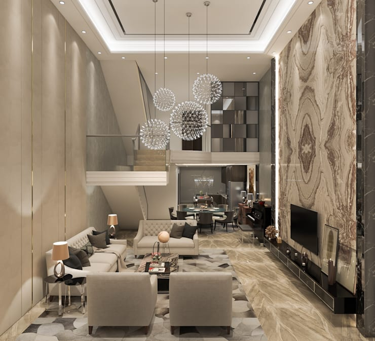 Resort Style at Kew Crescent :  Living room by Singapore Carpentry Interior Design Pte Ltd,Classic