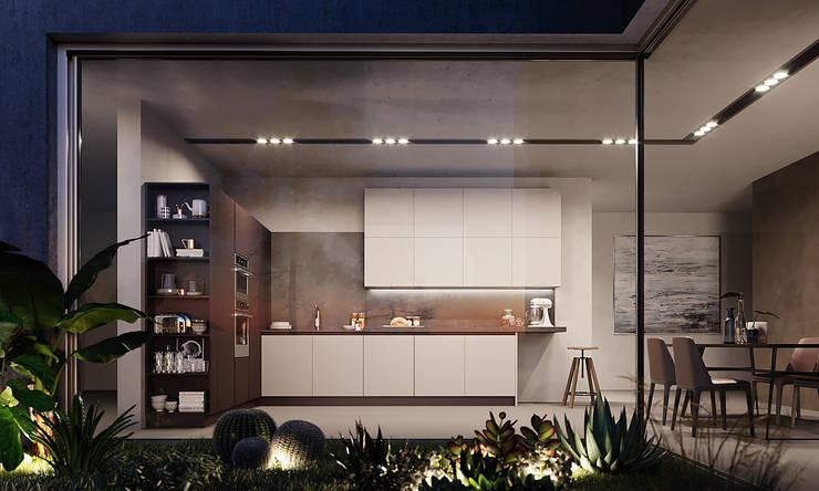 Personale interpretazione serale con forte contrasto di illuminazione interno - esterno. di Nespoli 3d Moderno