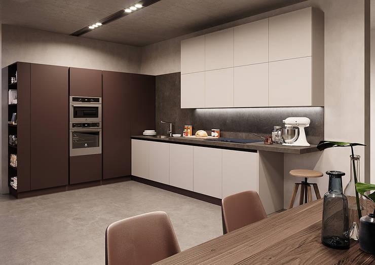 Personale interpretazione serale ambiente cucina, particolare. di Nespoli 3d Moderno