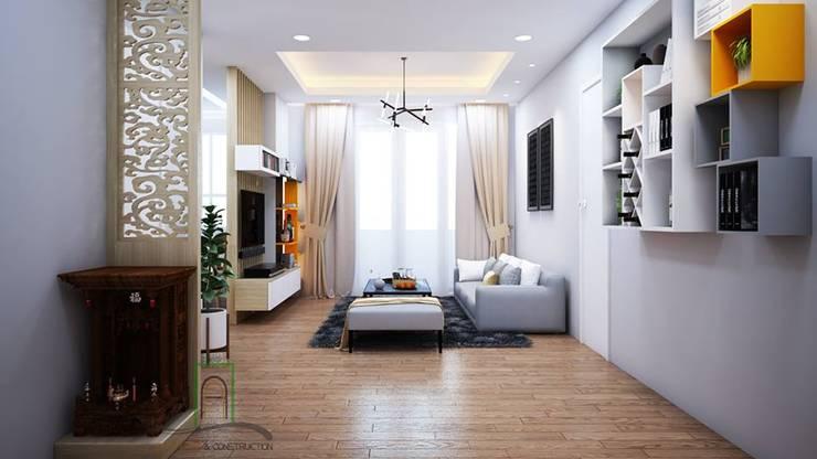 Thông tin chi tiết về dự án thiết kế căn hộ chị Hạnh Ehome S quận 9:  Balconies, verandas & terraces  by TNHH xây dựng và thiết kế nội thất AN PHÚ CONs 0911.120.739