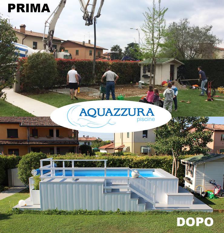 La piscina fuori terra rivestita in legno o wpc arreda il ...