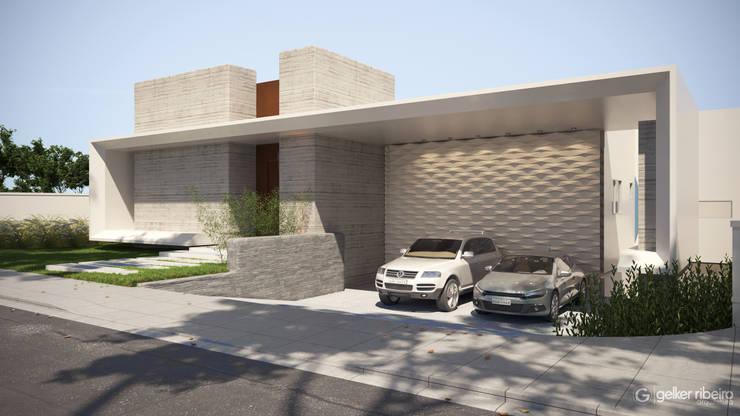 Fachada modernista  com garagem embutida: Condomínios  por Gelker Ribeiro Arquitetura | Arquiteto Rio de Janeiro