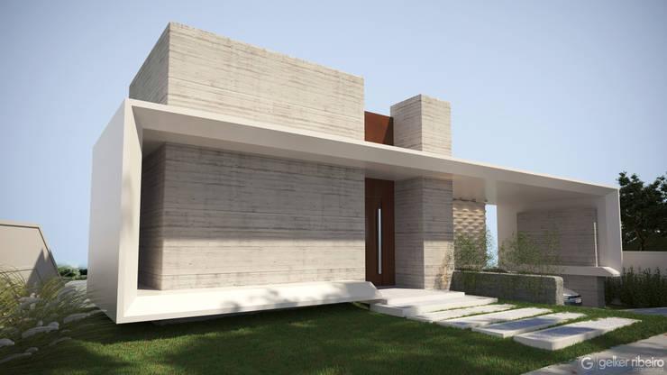 Fachada concreto : Banheiros  por Gelker Ribeiro Arquitetura | Arquiteto Rio de Janeiro