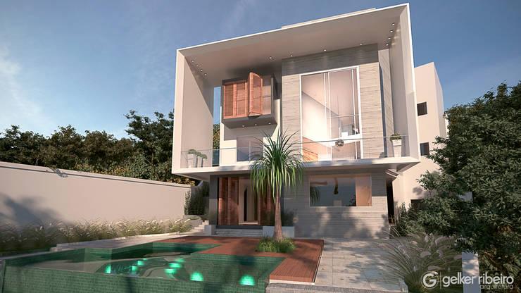 Fachada interna e área de lazer com piscina fundo infinito: Casas  por Gelker Ribeiro Arquitetura | Arquiteto Rio de Janeiro