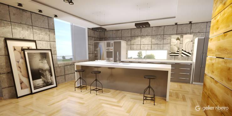 Cozinha em concreto simples e objetiva: Armários e bancadas de cozinha  por Gelker Ribeiro Arquitetura | Arquiteto Rio de Janeiro