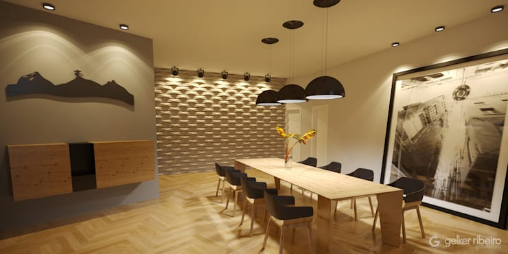 Projeto Casa Moderna JC Pendotiba Niterói: Salas de jantar  por Gelker Ribeiro Arquitetura | Arquiteto Rio de Janeiro