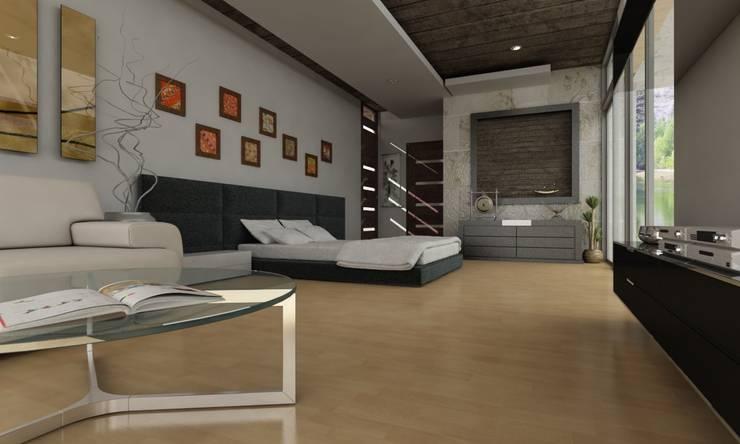 Residencia en Tijuana: Recámaras pequeñas de estilo  por OLLIN ARQUITECTURA