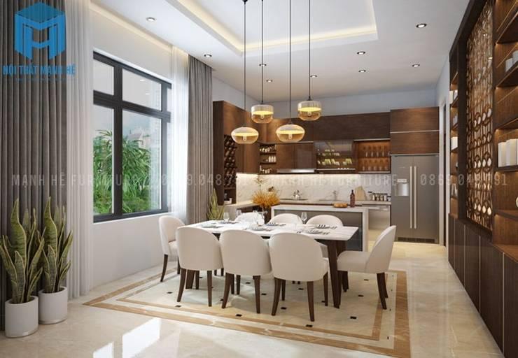 Bộ bàn ghế ăn phòng bếp màu trắng tinh tế:  Phòng ăn by Công ty TNHH Nội Thất Mạnh Hệ