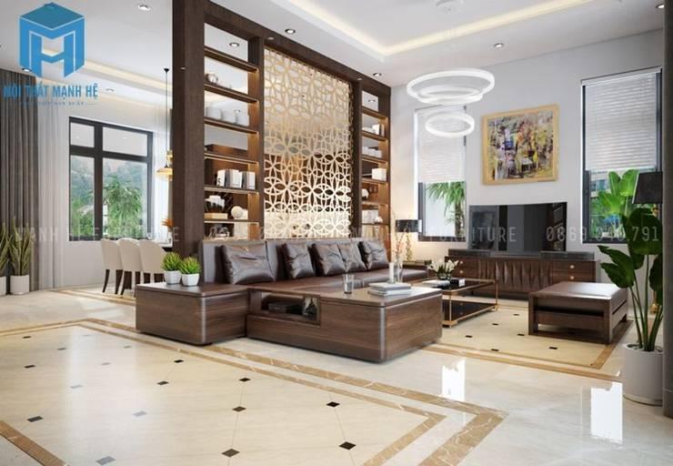 Tổng thể không gian phòng khách:  Phòng khách by Công ty TNHH Nội Thất Mạnh Hệ