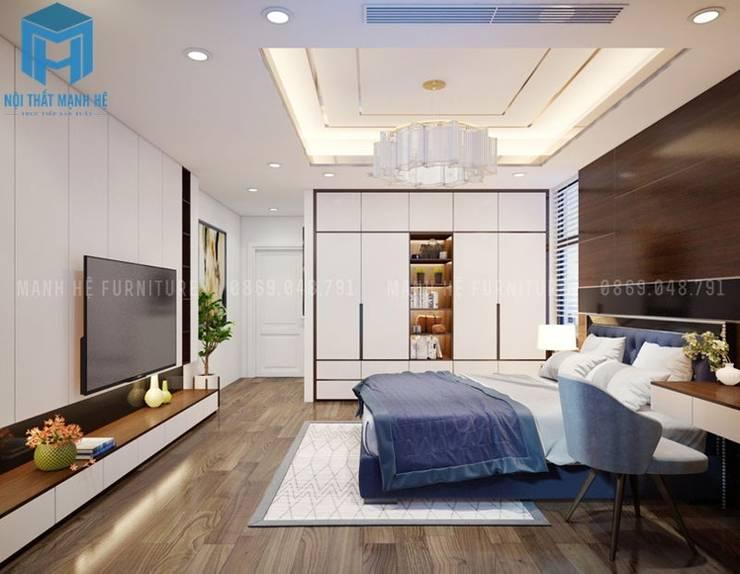 Nội thất phòng ngủ nhỏ cho con trai thứ khá hiện đại:  Phòng ngủ nhỏ by Công ty TNHH Nội Thất Mạnh Hệ