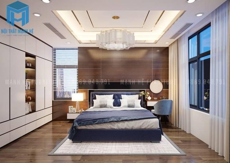 Phòng ngủ nhỏ được trang bị các vật dụng nội thất khá đơn giản:  Phòng ngủ nhỏ by Công ty TNHH Nội Thất Mạnh Hệ