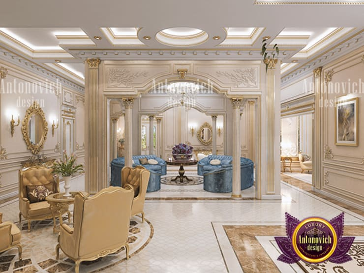 Neoclassical Living Room Interior:   by Luxury Antonovich Design