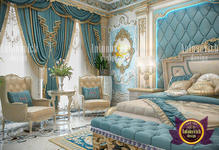 Formal Relaxing Blue Bedroom:   by Luxury Antonovich Design