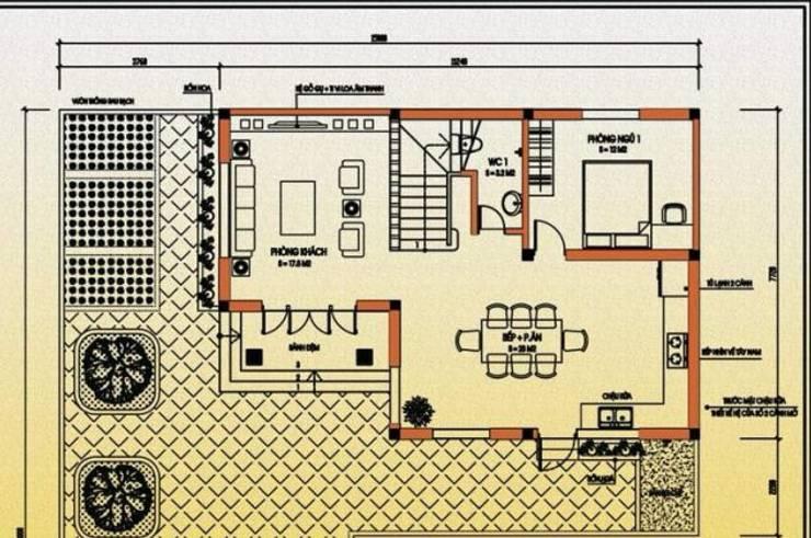 Bản vẽ thiết kế biệt thự 2 tầng 100m2 phong cách mái Thái:   by Kiến Trúc Xây Dựng Incocons