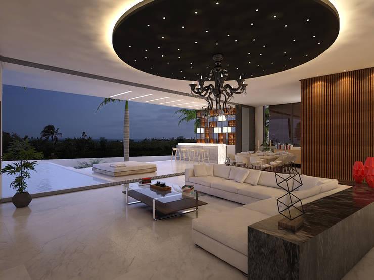 sala:  de estilo  por studio arquitectura | Despacho de arquitectos | Cancún