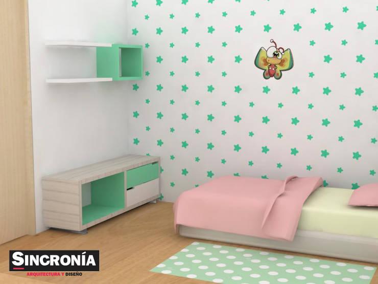 Propuesta de diseño alcoba : Habitaciones infantiles de estilo  por Sincronía Arquitectura y Diseño , Moderno