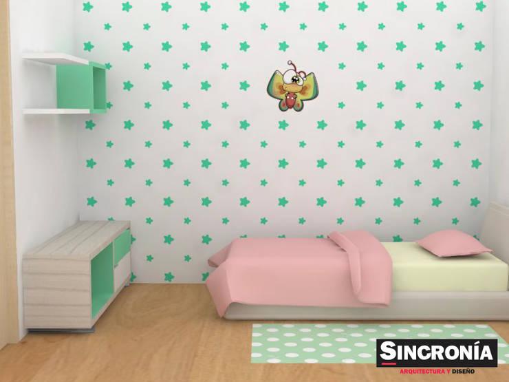 Decoración con vinilos adhesivos : Habitaciones infantiles de estilo  por Sincronía Arquitectura y Diseño , Moderno