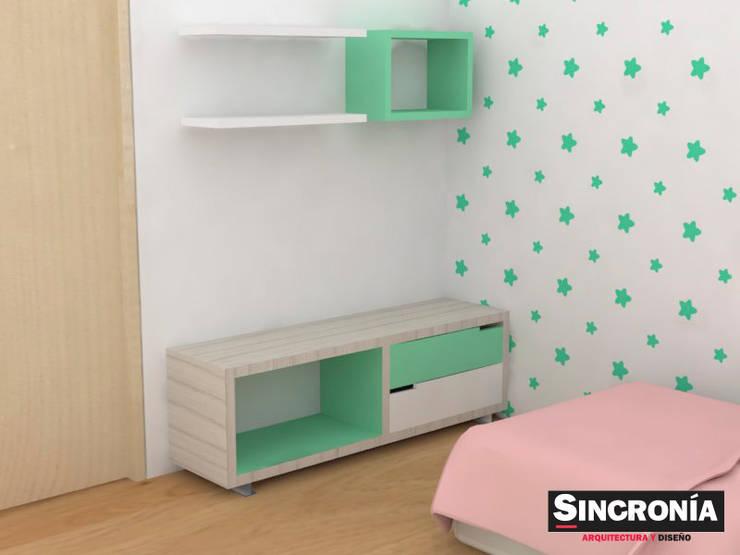 Diseño de mobiliario : Habitaciones infantiles de estilo  por Sincronía Arquitectura y Diseño , Moderno