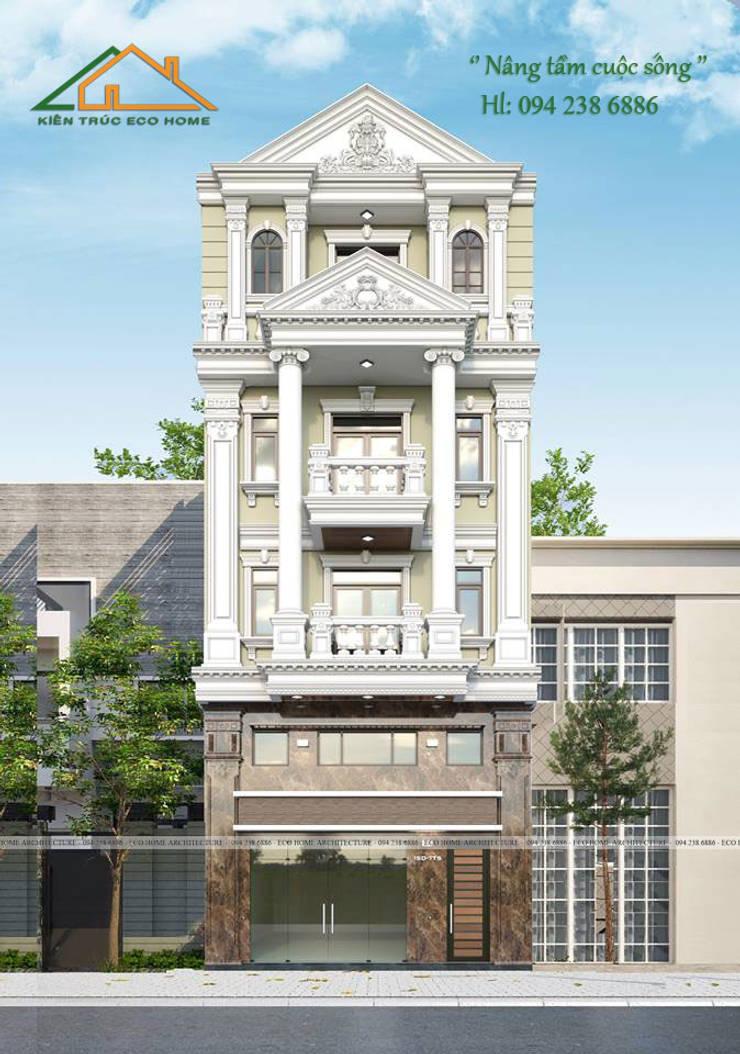 Mẫu thiết kế nhà phố tân cổ điển kết hợp kinh doanh:  Corridor, hallway & stairs by Công ty CP kiến trúc và xây dựng Eco Home