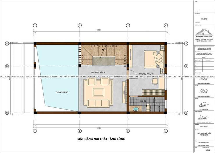 Mẫu thiết kế nhà phố tân cổ điển kết hợp kinh doanh:  Bedroom by Công ty CP kiến trúc và xây dựng Eco Home