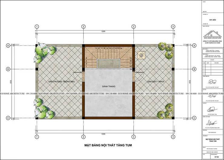Mẫu thiết kế nhà phố tân cổ điển kết hợp kinh doanh:  Artwork by Công ty CP kiến trúc và xây dựng Eco Home
