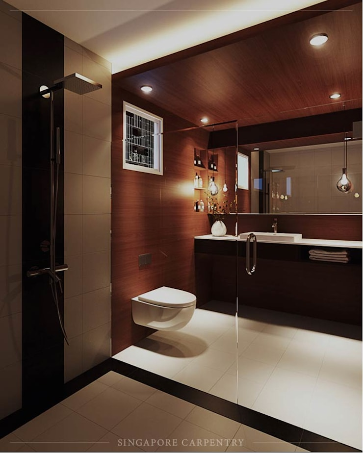 Minimalist style in Choa Chu Kang Road:  Bathroom by Singapore Carpentry Interior Design Pte Ltd