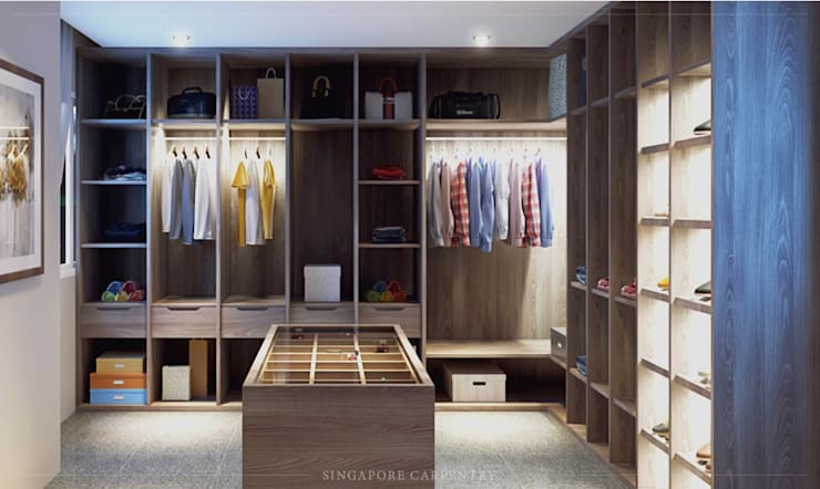 Minimalist style in Choa Chu Kang Road:  Dressing room by Singapore Carpentry Interior Design Pte Ltd