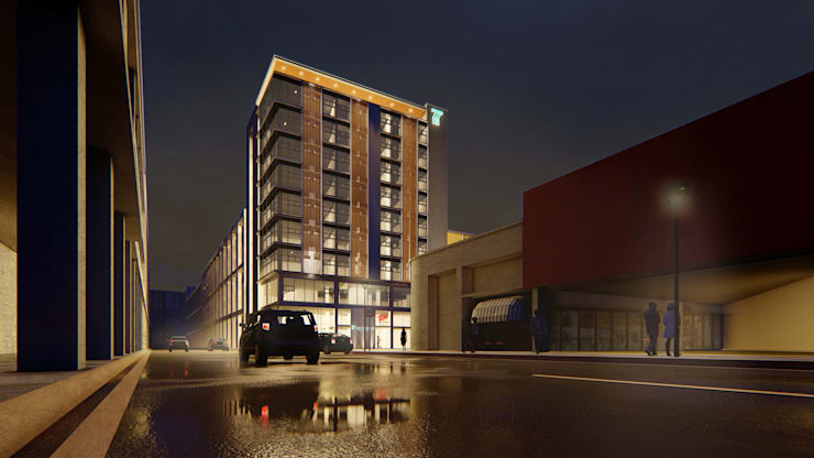 A Proposed 10 Storey Mixed Use Commercial, Office & Residential Development:  Commercial Spaces by Each Studio