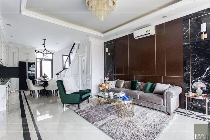 Thiết kế và thi công nội thất biệt thự Tân Cổ Điển sang trọng và đẳng cấp:  Phòng khách by ICON INTERIOR