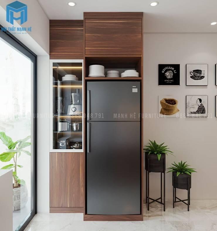 Khung gỗ tự nhiên được thiết kế dành cho tủ lạnh :  Phòng ăn by Công ty TNHH Nội Thất Mạnh Hệ