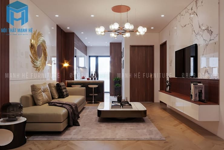 Nội thất phòng khách khá sang trọng và hiện đại:  Phòng khách by Công ty TNHH Nội Thất Mạnh Hệ