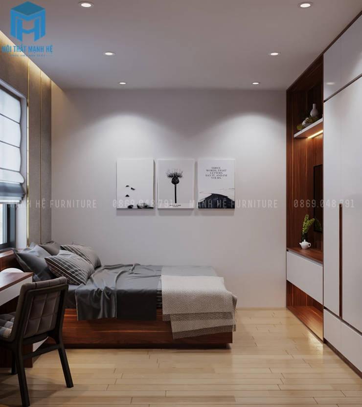 Nội thất phòng ngủ master khá đơn giản với tủ đựng đồ, giường ngủ, bàn trang điểm cùng 3 bức tranh nghệ thuật treo trên tường :  Phòng ngủ by Công ty TNHH Nội Thất Mạnh Hệ